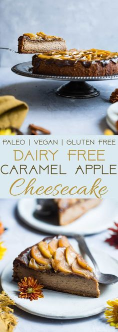 Paleo Caramel Apple Cheesecake - You will never believe this creamy caramel apple paleo cheesecake is vegan friendly and gluten, grain and dairy free! The perfect healthy comfort food dessert for the fall! | Foodfaithfitness.com | @FoodFaithFit | easy pal