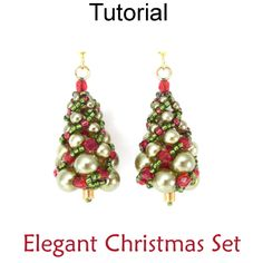 Elegant Christmas Tree Russian Spiral Stitch Necklace Earrings Downloadable Beading Pattern Tutorial