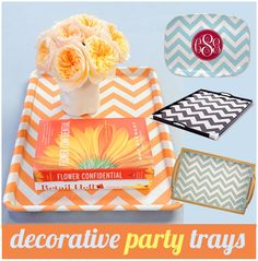 {DIY} Chevron Patterned Party Tray on http://pizzazzerie.com