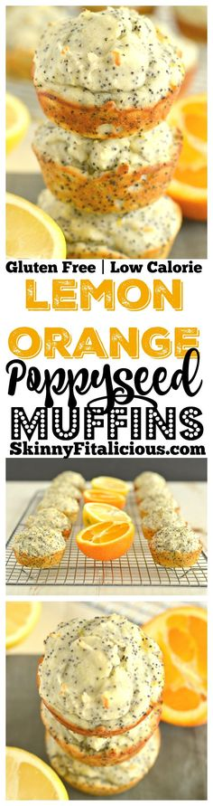 Lemon Orange Poppyseed Muffins! These vibrant & creamy Greek yogurt packed muffins are bursting with citrus. A light, fresh, healthy gluten free, low calorie, weight loss snack!
