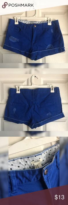 Forever 21 Royal Blue Shorts Royal Blue Shorts with cut details in front and back. Never worn because they didn't fit but took off tags. Forever 21 Shorts