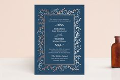 """""""Gilded Branches"""" - Elegant, Floral & Botanical Foil-pressed Wedding Invitation Petite Cards in Cement by Laura Hankins."""