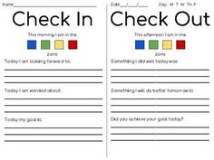 Simple check in/check out sheet that uses the Zones of Regulation. Good for collecting baseline data. Both in color and B&W. Elementary Counseling, Counseling Activities, School Counseling, Therapy Activities, Play Therapy, Zones Of Regulation, Emotional Regulation, Counseling Psychology, School Psychology