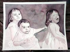 Sibling love, custom family portrait by koalarazorclock on Etsy