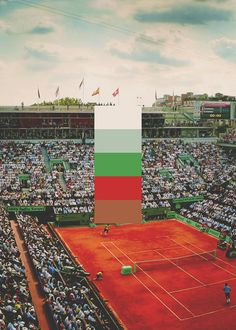 Color palettes: Grand Slam Centre Courts (Rod Laver Arena, Phillippe Chatrier Court, Centre Court, Arthur Ashe Stadium) #Tennis