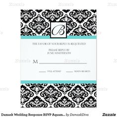 Damask Wedding Response RSVP Aquamarine 4.25x5.5 Paper Invitation Card