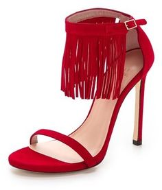 $318, Red Suede Heeled Sandals: Stuart Weitzman Lovefringe Suede Sandals. Sold by shopbop.com. Click for more info: https://lookastic.com/women/shop_items/197997/redirect
