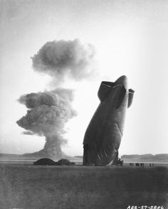 U.S. Navy Goodyear ZSG-3 Blimp collapsed by the shock wave from a nuclear blast in Nevada, 1957. The unmanned dirigible was in temporary free flight in excess of five miles from ground zero.