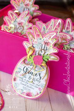 Diy Invitation, Luau Invitations, Handmade Invitations, Debut Invitation, Hawaiian Birthday, Flamingo Birthday, Flamingo Party, Girl Birthday, Luau Theme Party