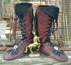 Unicorn Warrior  Lace Up Moccasin Boots by RustedAntlerDesigns, Custom orders available! www.rustedantlerdesigns.com