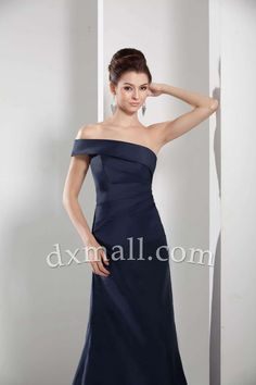Sheath/Column Wedding Guest Dresses One Shoulder Sweep/Brush Train Taffeta Dark Navy 130010400262
