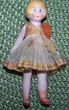 Antique German Bisque Flapper Miniature Dollhouse Doll in Orange Original Outfit