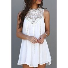 Sweet Round Neck White Cut Out Lace Spliced Sundress For Women