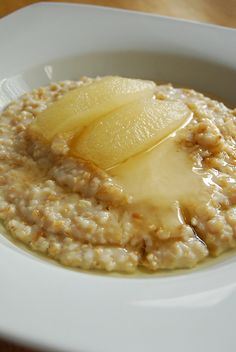 Steel Cut Oats with Vanilla Poached Pears and Creamed Honey