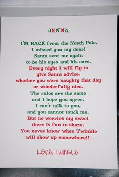 Elf on the Shelf - return letter. But I'll have to change the names on here.