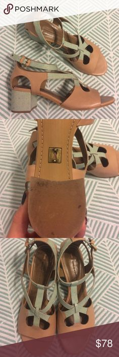 Anthropologie mint tan sandals size 9 These sandals are absolutely adorable! They are by Schuler & Sons Philadelphia and sold at Anthropologie. They have been worn and are in excellent used condition. They have some minor scratches on the back heels. Anthropologie Shoes Sandals