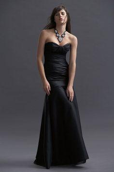 Sweetheart taffeta bridesmaid dress with dropped waist.