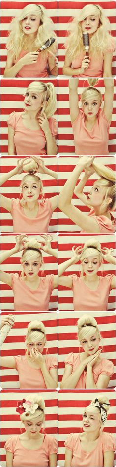 coiffure pin up, tuto utile comment se faire chignon pin up