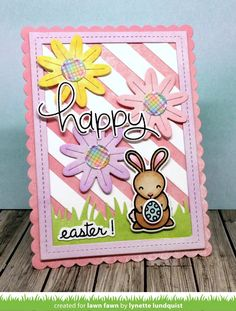Our fellow Fawnie, Lynette , joins us today to share an adorable Easter card! Her sweet card combines Flower Power , Hoppy Easter  and Stri...