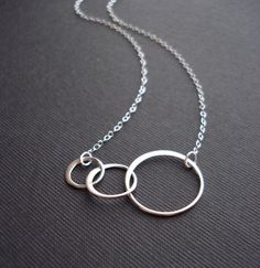 Three Circles Necklace In Sterling Silver. by AnechkasJewelry