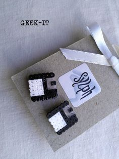 Earrings made of Hama Mini Beads  Geek IT black by SylphDesigns, €3.00