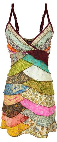 Layers Upon Layers Recycled Sari Dress. GORGEOUS!!! I want this! - https://www.facebook.com/different.solutions.page