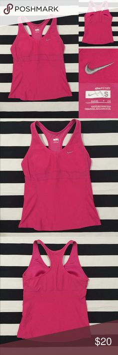 [Nike] DRI-FIT women's racerback tank top szS [Nike] DRI-FIT women's racerback tank top szS •listing •great used condition •hot pink color with silver embroidered swoosh •built in sport bra liner •material polyester and spandex for a soft fitted feel •see other Nike and athletic listings in my closet •Offers are welcomed using the offer feature or bundle for the best discount Nike Tops Tank Tops