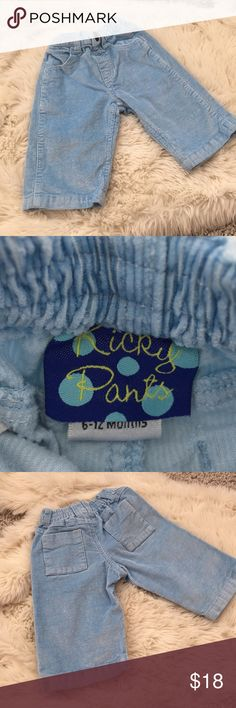 Kicky Pants corduroy jeans Such a sweet pair of corduroys for your little boy or girl. The pants are more of an ice blue than the pictures are able to capture. Very vibrant and in excellent condition. See the darker blue pair to add it to a bundle! Kickee Pants Bottoms Jeans