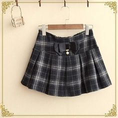 Bow Plaid Pleated Skirt