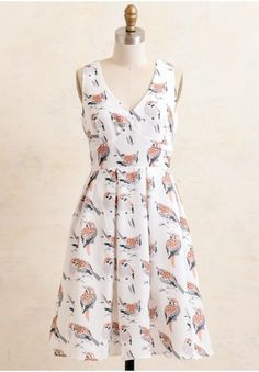 Singing Sparrow Printed Dress