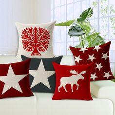 New modern decorativa almofadas caso algodão linho vermelho estrela geométrica cotton linen capa de almofada para o sofá de casa funda cojines