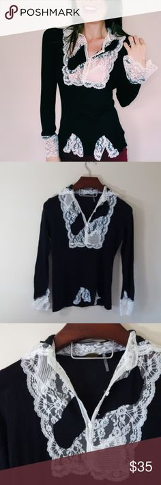 Anthropologie | One Girl Who lace detail top |-D5 In excellent condition! Beautiful One Girl Who from Anthropologie. Size large. Black with white lace detail. Measures 19 inches flat across the chest. Bundle up! Offers always welcome:)  Shop my husband's closet!: @kirchingeraaron Anthropologie Tops