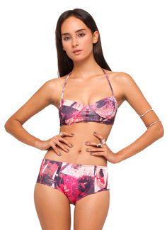 Motel Opal Halter Neck Bikini in Pink Forest print, TopShop, ASOS, House of Fraser, Nastygal