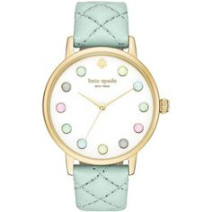 Kate Spade New York Ice Cream Metro Grand Goldtone Stainless Steel... ($225) ❤ liked on Polyvore featuring jewelry, watches, teal, dial watches, kate spade watches, kate spade jewelry, colorful jewelry and stainless steel watches