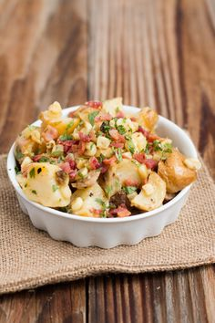The most delicious German potato salad with corn and bacon ohsweetbasil.com