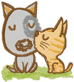 Cat kisses dog embroidery design. Machine embroidery design. www.embroideres.com