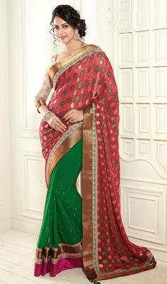 Rakul Preet Green and Magenta Viscose Half N Half Saree Price: Usa Dollar $101, British UK Pound £60, Euro75, Canada CA$110 , Indian Rs5454.