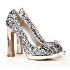 Sparkle peep toe heels