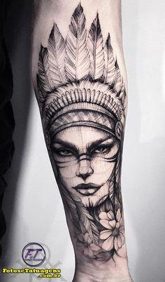 Indian Women Tattoo, Indian Girl Tattoos, Indian Feather Tattoos, American Indian Tattoos, Forarm Tattoos, Mom Tattoos, Body Art Tattoos, Tattoos For Guys, Girl Arm Tattoos