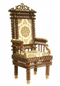 This huge example of recycling, a chair made with old, used wooden thread spools, sold for $490 at Thomaston Auction in Thomaston, Maine. It...