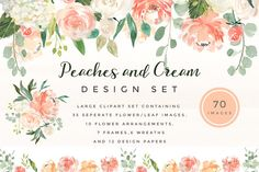 Peaches and Cream Flower Graphic Set by Twigs and Twine on @creativemarket