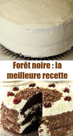 ● Today I offer you the recipe of the black forest for the holidays! It consists of a chocolate sponge cake, and a whipped cream garnished with cherries (or morello cherries if you wish), all covered with chocolate shavings! Turtle Cheesecake Recipes, Cookie Recipes, Dessert Recipes, Chocolate Sponge Cake, Chocolate Shavings, Mini Cheesecakes, French Pastries, Mini Foods, Coco
