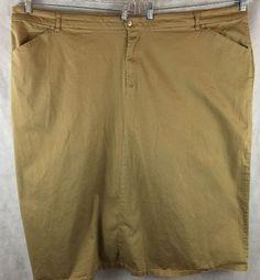 Goddess Trend Brown Khaki Long Stretch Skirt W/ Back Slit size 36 Front Pockets #GoddessTrend #FullSkirt
