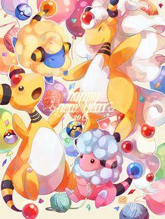 Tags: Fanart, Pokémon, Pixiv, Ampharos, Mareep, Flaaffy, PNG Conversion, Happy 2015, Evolution Family, Mega Form (Pokémon), Pixiv Id 5960878