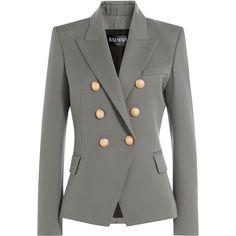Balmain Wool Blazer (117.485 RUB) ❤ liked on Polyvore featuring outerwear, jackets, blazers, grey, gray wool jacket, wool jacket, woolen jacket, blazer jacket and gray jacket