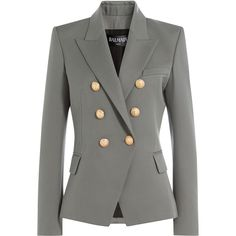 Balmain Wool Blazer (€1.625) ❤ liked on Polyvore featuring outerwear, jackets, blazers, coats, grey, blazer jacket, woolen jacket, grey wool jacket, balmain and wool blazer