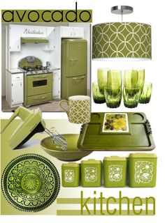 """""""Vintage Kitchen ~ Avocado, not just a fruit..."""" by tiffanysblues on Polyvore"""