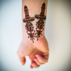 Small Temporary Traditional Dagger Tattoo, Traditional Tattoo Style, by Chris Stuart