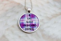 Eat Sleep Highland Dance Purple, Blue, and White Tartan Plaid in a Round Glass…