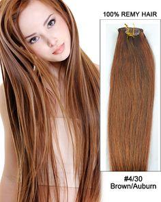 "22"" 7pcs Straight 100% Remy Hair Clip In Hair Extensions #4/30 Brown/Auburn"